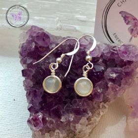 Moonstone Sterling Silver Wire Wrapped Earrings